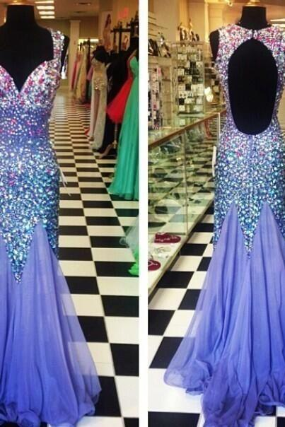 Luxury Sexy Prom Gowns Hot Selling Mermaid Sweetheart Spaghetti Backless Crystals Sweep Train chiffon Evening Party Dresses