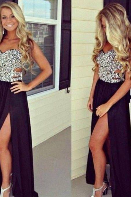 2015 Chiffon Prom Dress Black Bridesmaid Dress Floor-Length Party Dress Sweetheart Ball Gown Formal Dresses
