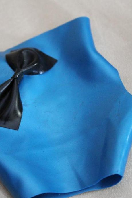 REDUCED PRICE: Pearlsheen Metallic Blue Latex Fingerless Gloves Mitts with Black Latex Bows