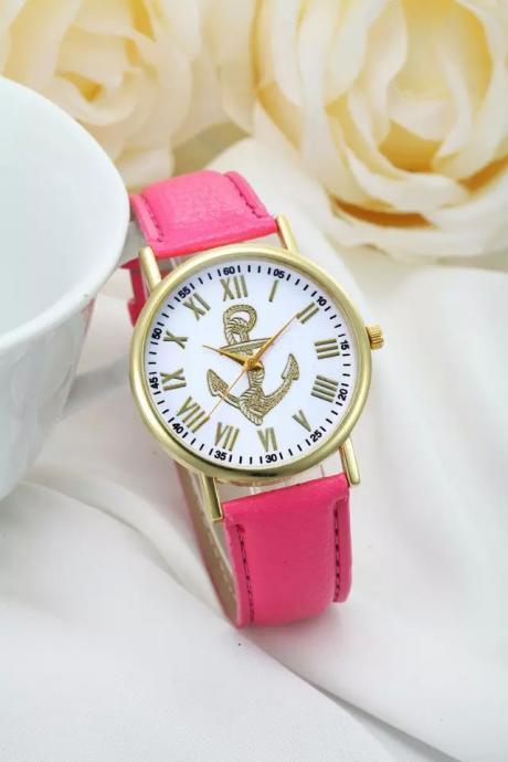 Anchor watch, anchor leather watch, leather watch, bracelet watch, vintage watch, retro watch, woman watch, lady watch, girl watch, unisex watch, AP00238