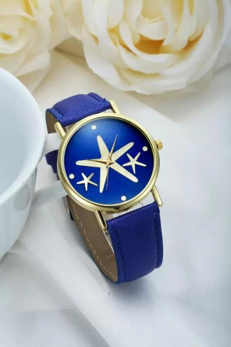 Star watch, star leather watch, leather watch, bracelet watch, vintage watch, retro watch, woman watch, lady watch, girl watch, unisex watch, AP00241