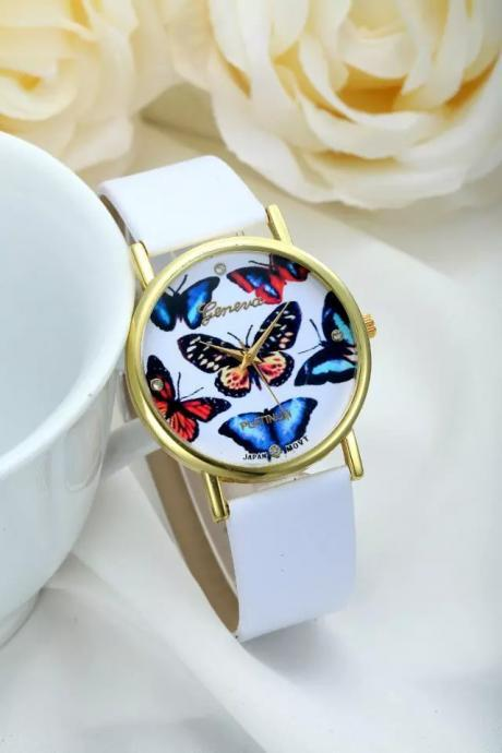 Butterfly watch, leather watch, bracelet watch, vintage watch, retro watch, woman watch, lady watch, girl watch, unisex watch, AP00244