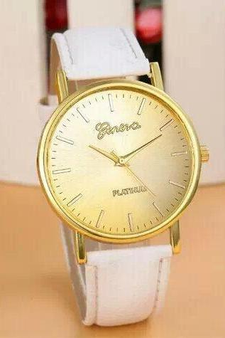 simple watch, white leather watch, leather watch, bracelet watch, vintage watch, retro watch, woman watch, lady watch, girl watch, unisex watch, AP00249