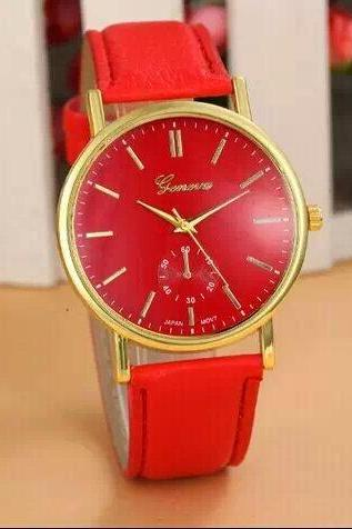 simple watch, red leather watch, leather watch, bracelet watch, vintage watch, retro watch, woman watch, lady watch, girl watch, unisex watch, AP00250
