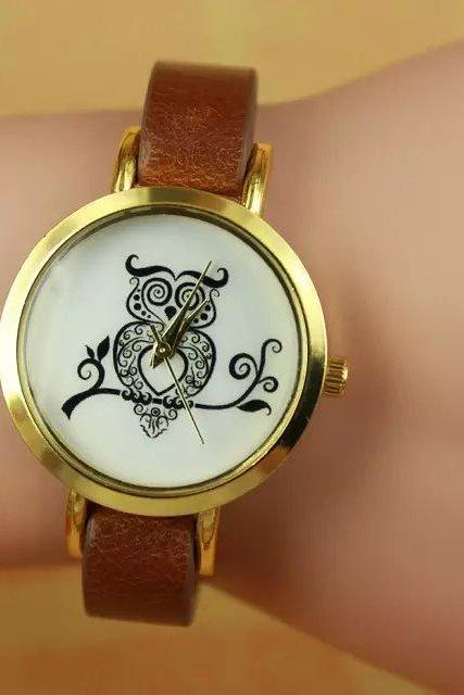 Owl watch, brown leather watch, leather watch, bracelet watch, vintage watch, retro watch, woman watch, lady watch, girl watch, unisex watch, AP00253