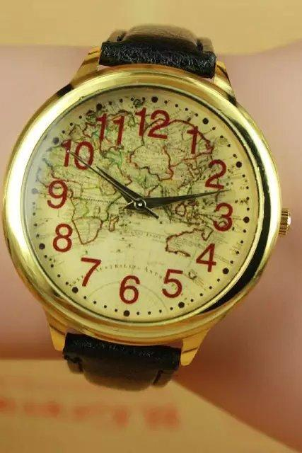 World map watch, black leather watch, world map leather watch, bracelet watch, vintage watch, retro watch, woman watch, lady watch, girl watch, unisex watch, AP00268