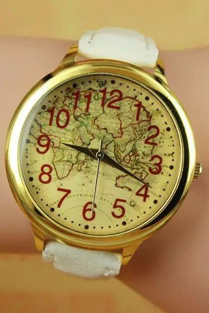 World map watch, white leather watch, world map leather watch, bracelet watch, vintage watch, retro watch, woman watch, lady watch, girl watch, unisex watch, AP00270