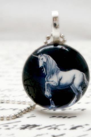 Blue unicorn glass pendant