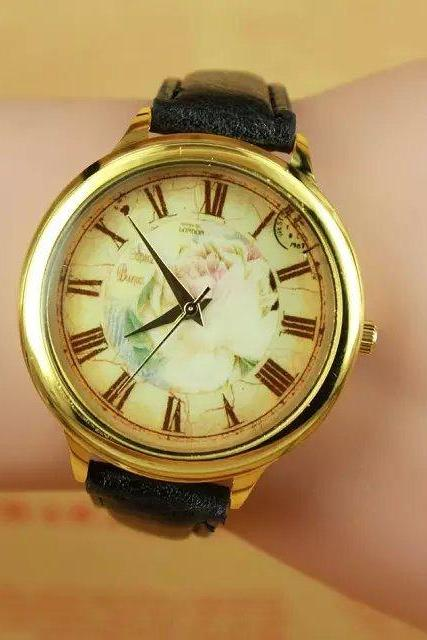 Vintage rose watch, black leather watch, rose leather watch, bracelet watch, vintage watch, retro watch, woman watch, lady watch, girl watch, unisex watch, AP00272