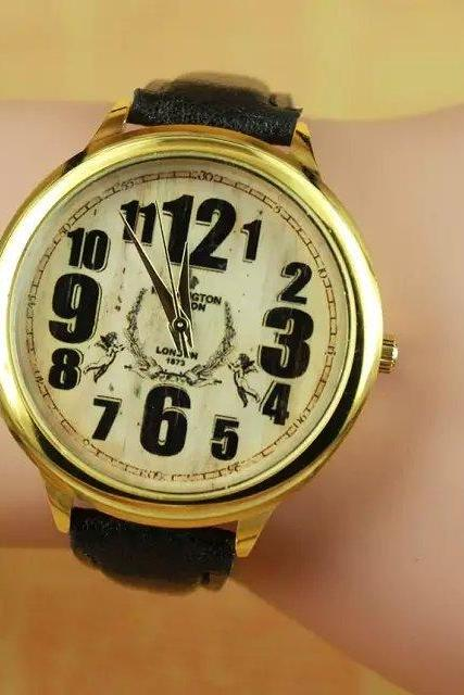 Vintage style watch, black leather watch, bracelet watch, vintage watch, retro watch, woman watch, lady watch, girl watch, unisex watch, AP00277