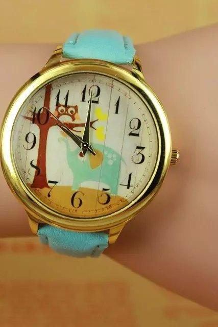 Lovely elephant watch, sky blue leather watch, bracelet watch, vintage watch, retro watch, woman watch, lady watch, girl watch, unisex watch, AP00279