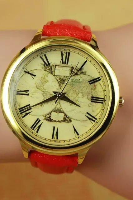 Vintage map watch, red leather watch, bracelet watch, vintage watch, retro watch, woman watch, lady watch, girl watch, unisex watch, AP00286