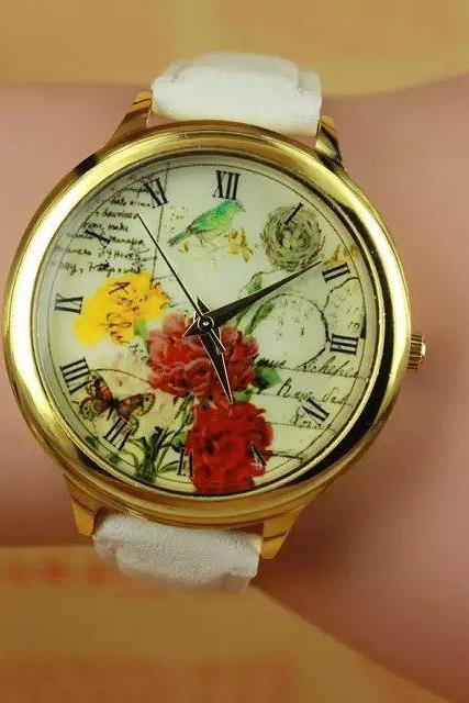 Flower garden watch, white leather watch, bracelet watch, vintage watch, retro watch, woman watch, lady watch, girl watch, unisex watch, AP00288