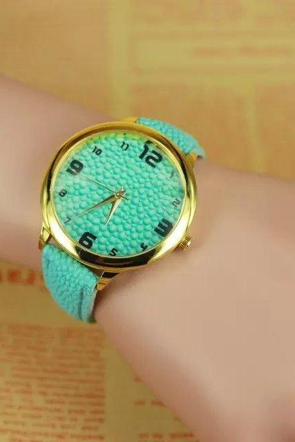 concave-convex watch, mint leather watch, bracelet watch, vintage watch, retro watch, woman watch, lady watch, girl watch, unisex watch, AP00294