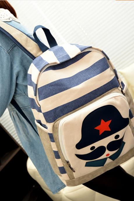 2015 new women Fashion Striped Moustache Printed Canvas Backpack