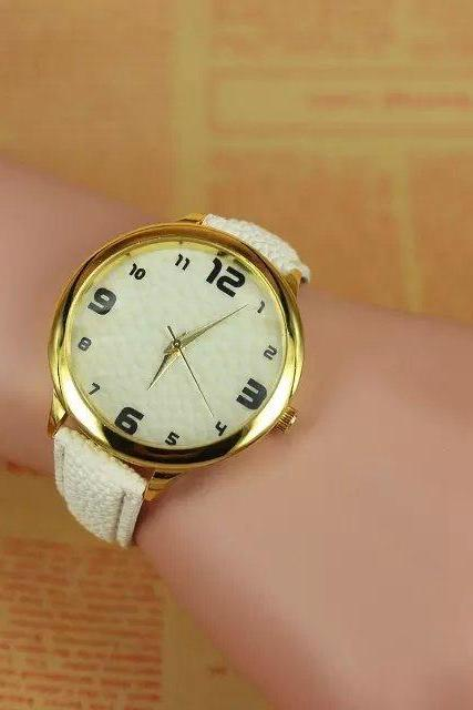 concave-convex watch, white leather watch, bracelet watch, vintage watch, retro watch, woman watch, lady watch, girl watch, unisex watch, AP00297