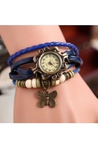 Butterfly watch, butterfly leather watch, blue bracelet watch, leather watch, bracelet watch, vintage watch, retro watch, woman watch, lady watch, girl watch, unisex watch, AP00307