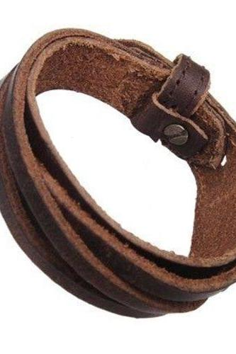 PU leather unisex party brown teen bracelet