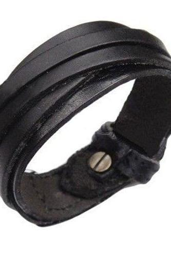 PU leather unisex party black teen bracelet