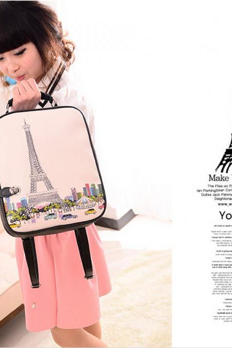 2015 New fashion women Fresh College Style Cartoon Pu Backpacks