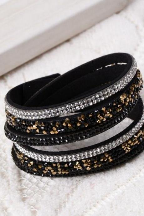 Multi layer rhinestones black dress party girl bracelet