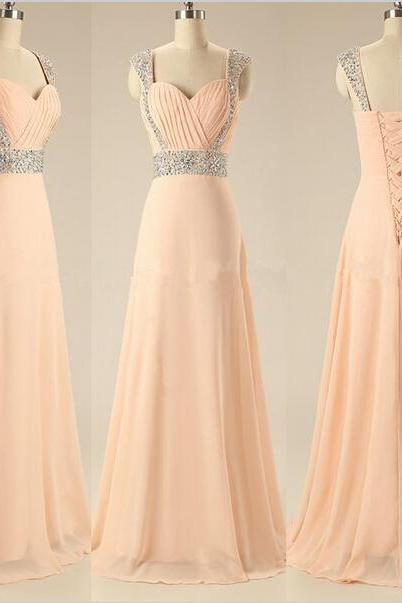 Sweetheart Beaded Cap Sleeve A Line Peach Long Prom Dresses 2015 Evening Party Dresses Bridesmaid Dresses