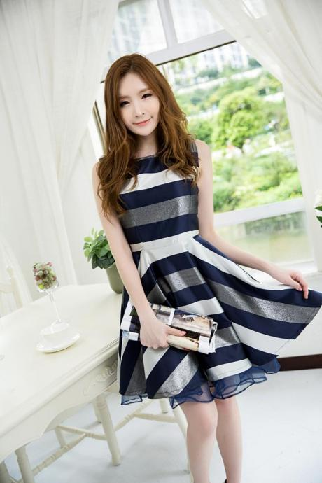 Summer sleeveless big A line Polyester elegant Slim Striped vest skirt dress