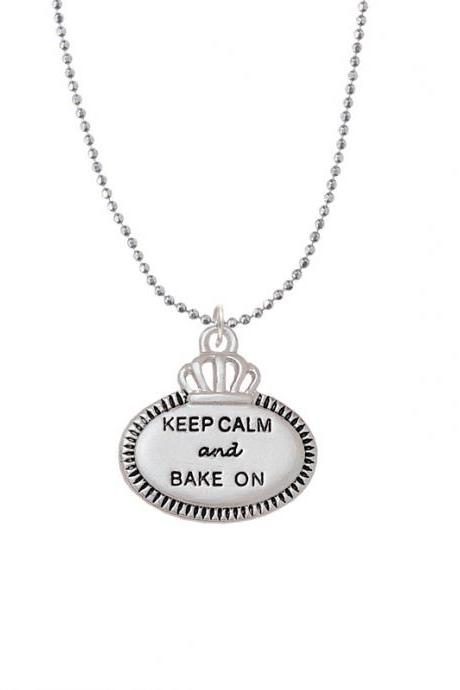 NC-C5960-BC - Keep Calm and Bake On Ball Chain Necklace - 18 Inches