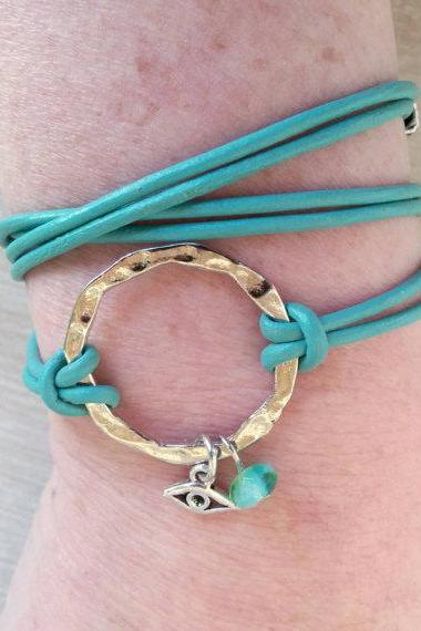 Leather Wrap Bracelet, Turquoise & Silver Infinity Bracelet, Hammered Circle, Bohemian Evil Eye Jewelry, Choose ONE Charm and Leather Color