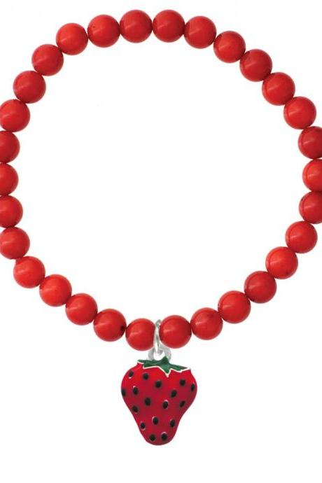 NC-C1258-CORAL - Large Enamel Strawberry Red Coral Charm Bracelet, Stretch