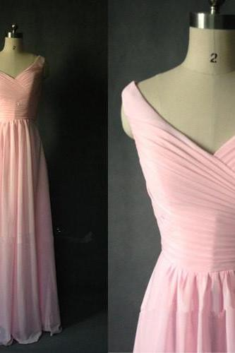 Pretty Pink Straps Long Chiffon Bridesmaid Dresses, Pink Chiffon Prom Dresses, Pink Formal Dresses, Bridesmaid dress