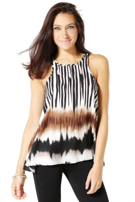 ADVENTURE STRIPE PRINT TOP
