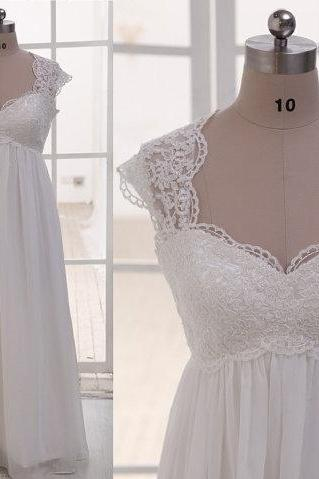 Cap Sleeves Empire Waist Lace Chiffon Beach Wedding Dress,See Through Sweetheart Wedding Gown, Custom Made Maternity Bridal Wedding Dresses,Pregnant Women Dress Prom