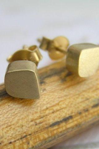 Solid Gold Stud Earrings - 14k Gold Freeform Cube Post Earrings