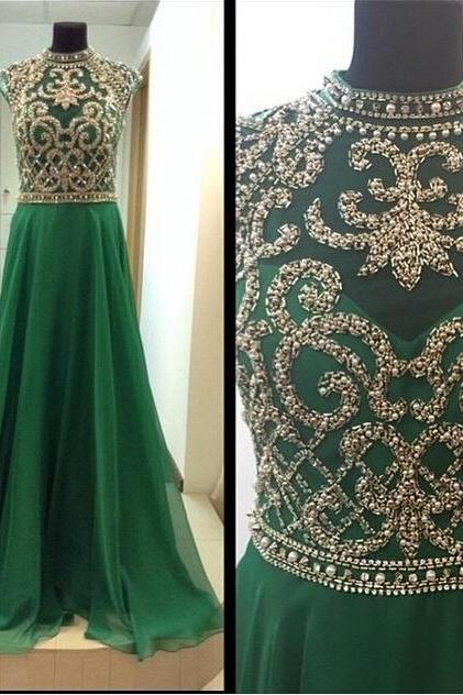 High Neck Evening Dress, Formal Evening Dress, 2015 Long Evening Dress, Green Prom Dress, Cheap Party Dress, Plus Size Prom Dress
