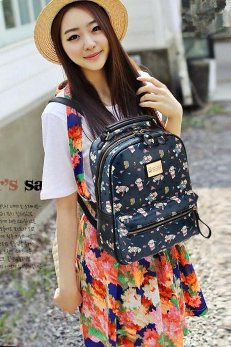 2015 New fashion women Lovely Cute Bear Printed Cartoon Leather Backpack