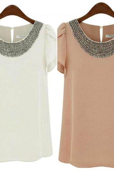 Lotus Sleeve Design Beaded Chiffon Top In 2 Colors
