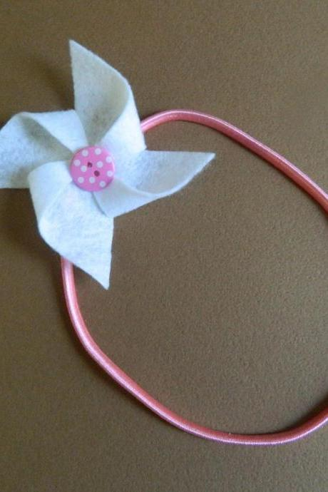 White and Pink Polka Dot Pinwheel Headband