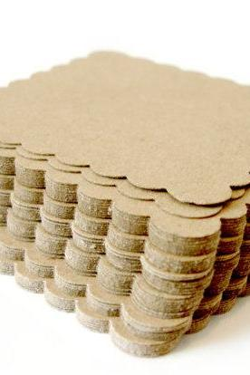 2inch kraft scalloped squares die cut scrapbooking embellishment Any occasion 2 Dozen