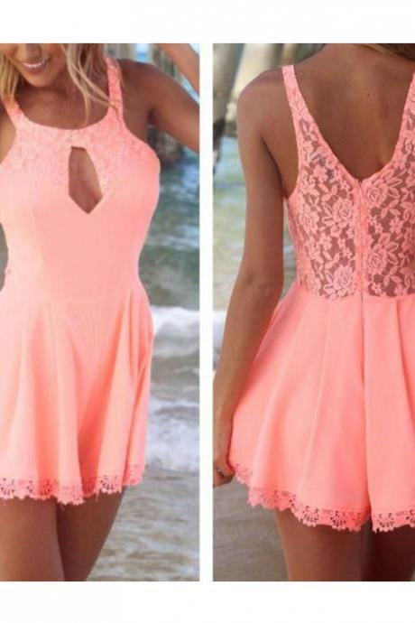 Adorable Pink Lace Jumpsuit