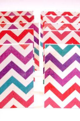 Colorful chevron handmade mini cards lunchbox notes blank mini cards mini note cards Set of 18