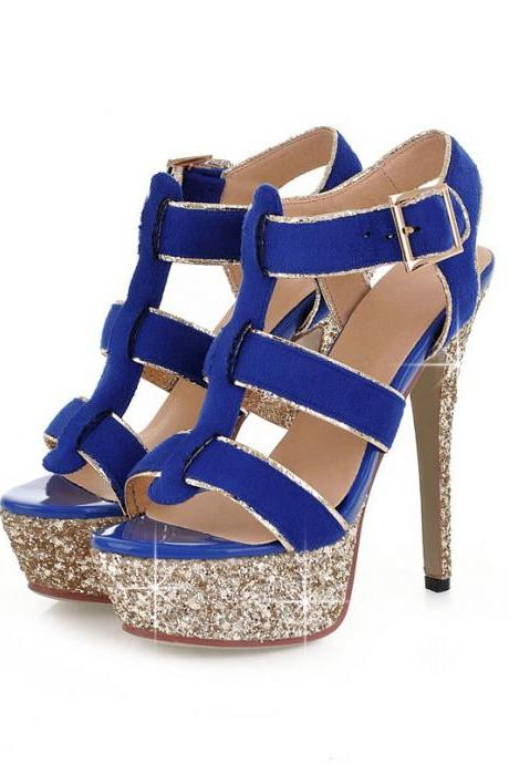 Gladiator Style Metallic Gold Sandals In Blue,Black And Rose Pink