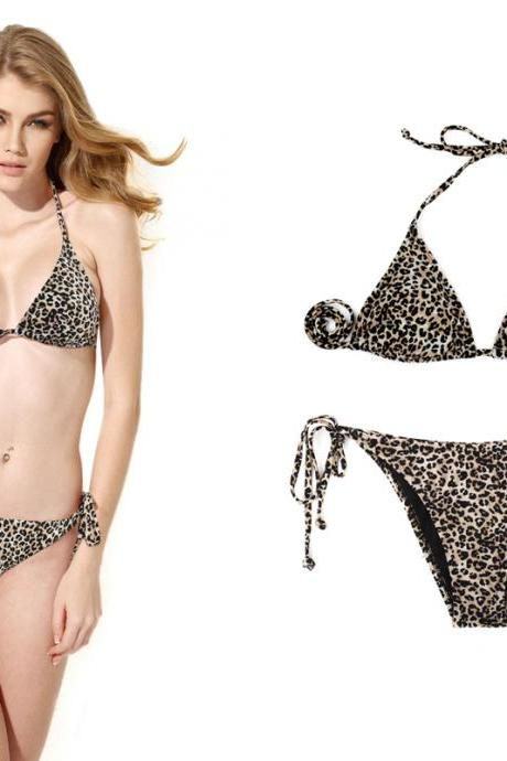 Sexy Leopard Triangle Top with Classic Cut Bottom Bikini Swimwear swimsuit set bathing suit 2015
