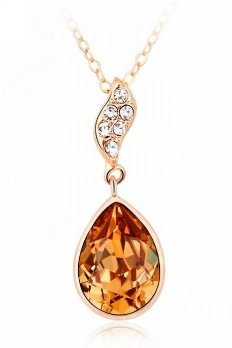 Water drop pendant champagne Swarovski crystals woman necklace
