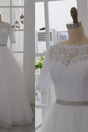 Short Sleeves Lace Wedding Gown,A Line Floor Length White Wedding Dress, Custom Made Cheap Bridal Wedding Dresses,Bridal Dress