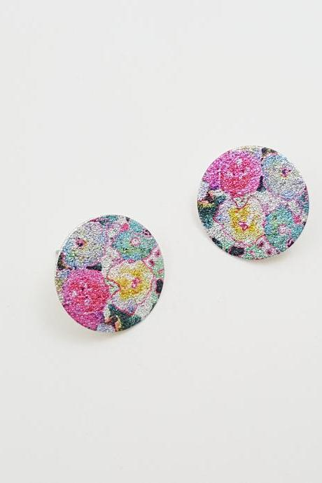 Flower pattern printing circle Stud Earrings,Luxe Glitter Circle Earrings