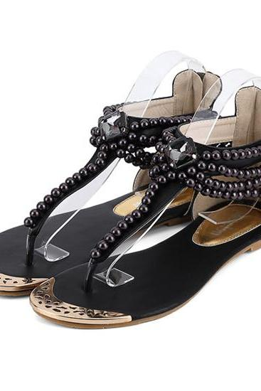 Boho Chic Pearl Beaded Sandals In 2 Colors