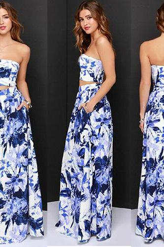 Sexy Strapless Hollow Out Floor-Length Ink Print Dress
