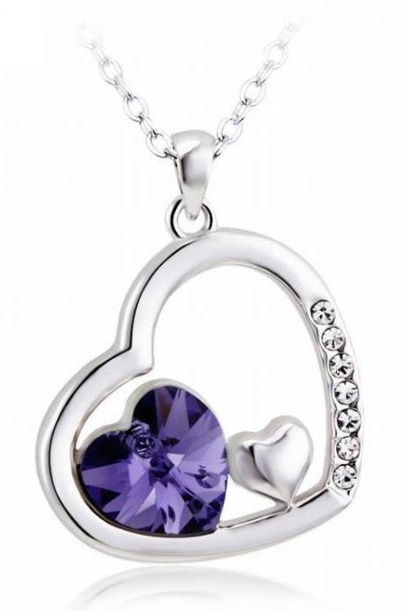 Heart jewelry Swarovski purple crystals wedding necklace
