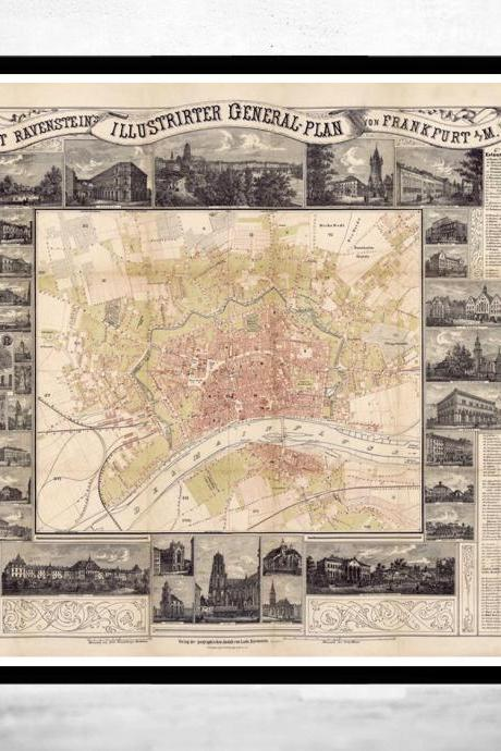 Old Map of Frankfurt Germany 1860